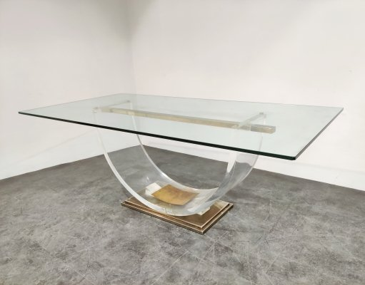 Brass & lucite arched dining table by Belgo Chrom, 1970s