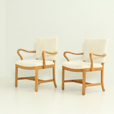 Pair of Arm Chairs by Cabinetmaker Jacob Kjaer, Denmark 1930's