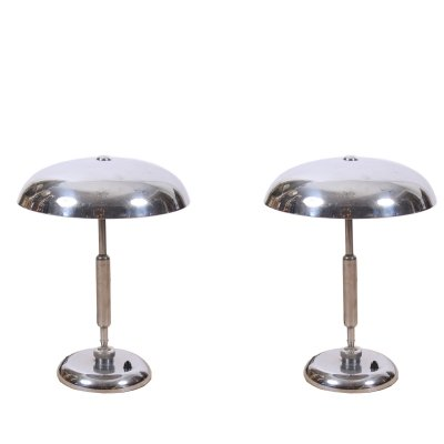 Pair of Nickel Plated Italian Table Lamps, 1960s