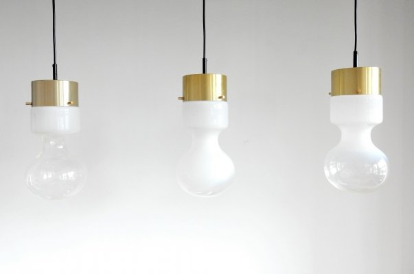 Set of 3 'Weerballon' B-1062 pendant lamps by Raak, The Netherlands 1970's