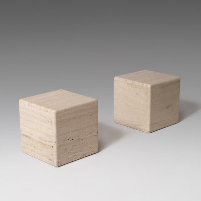 Set of two Travertine side tables, Italy 1970's