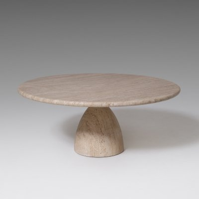 Round travertine Coffee table by Peter Draenert, 1970's