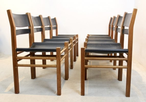 Unique set of 8 Oak & Saddle Leather Scandinavian Chairs, 1960s