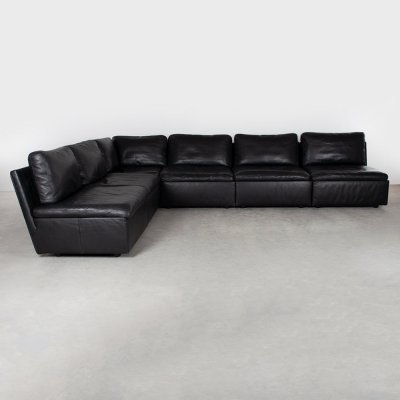 Black leather Coco modular sofa (6 elements) by Teun van Zanten for Durlet, 1990s