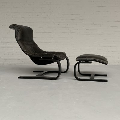 Lounge Chair & Ottoman by Ake Fribytter for Nelo, Sweden 1970s