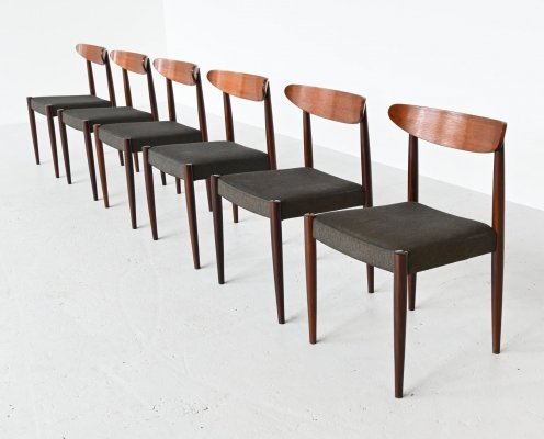 Oswald Vermaercke model Paola teak dining chairs for V Form, Belgium 1961