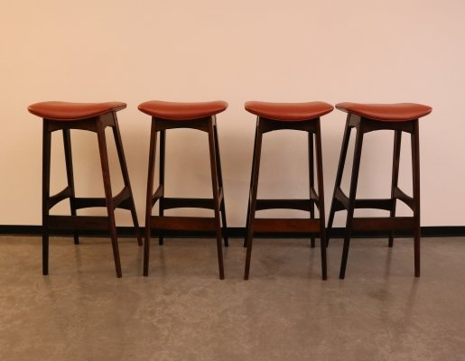 Set of 4 Brazilian rosewood bar stools by J. Andersen, Denmark 1960's