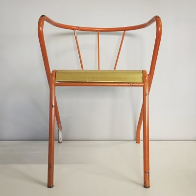 Chair in iron & anodized plate metal, 1960s