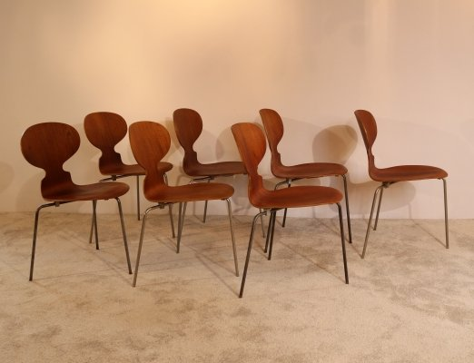 Set of 7 'Ant' chairs in teak by Arne Jacobsen for Fritz Hansen, Denmark 1950's