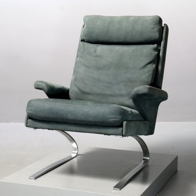Leather & steel 'Swing' lounge chair by COR, 1970s