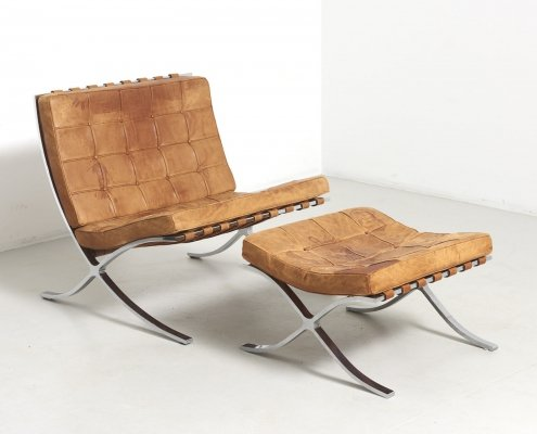 Barcelona Chair with Ottoman by Ludwig Mies Van Der Rohe, Germany 1950s