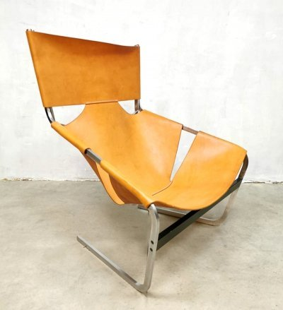 Vintage leather F444 lounge chair by Pierre Paulin for Artifort, 1960s