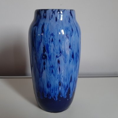 Blue fat lava vase by Scheurich Germany, 1970s