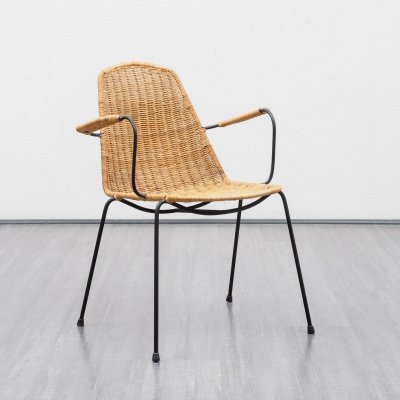 Vintage wicker chair by Gian Franco Legler, 1950s