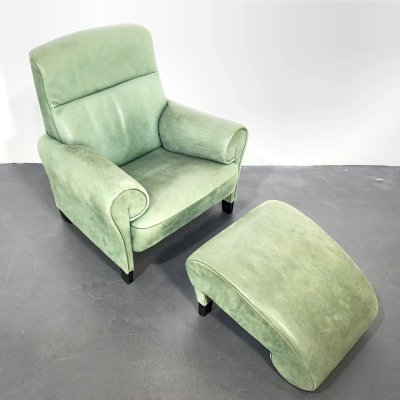 Green Leather De Sede DS-90 Lounge Chair with Ottoman by Anita Schmidt, 1990s