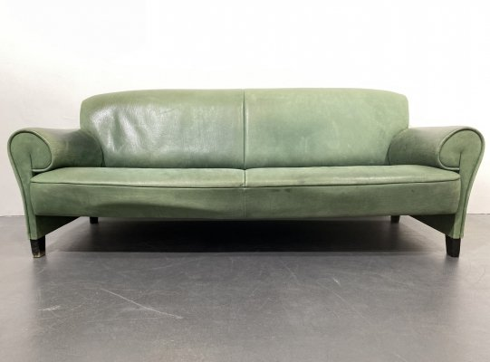 Green Leather De Sede DS-90 Sofa by Anita Schmidt, Switzerland 1990s