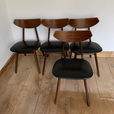 Set of 4 Louis Van Teeffelen Teak Chairs, 1960s