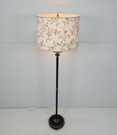 French Neoclassical floorlamp with brass & wrapped leather, 1950s