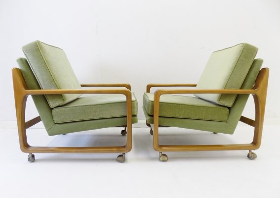 Set of 2 green mid century velor armchairs, 1960s