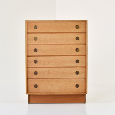 Chest of drawers in oak produced by Dyrlund, Denmark 1960's