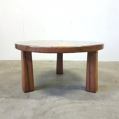 Rustic brutalist solid oak tripod coffee table with tapered legs, 1960s