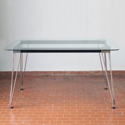 Midcentury table with glass top, 1950s