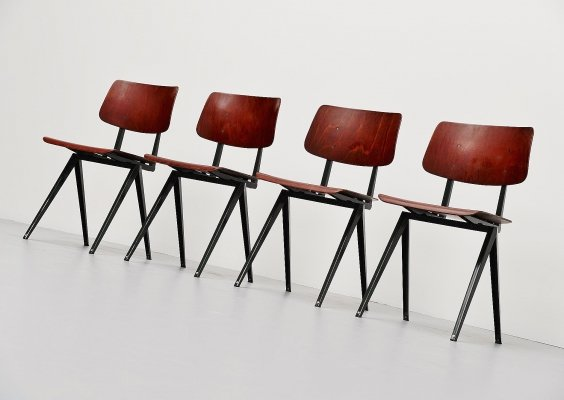 Set of 4 industrial chairs by Galvanitas, Holland 1970