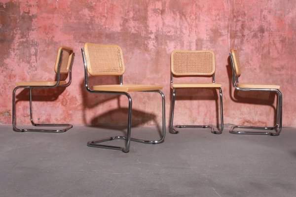 Set of Four Stackable Webbing Dining Chairs, 1980s