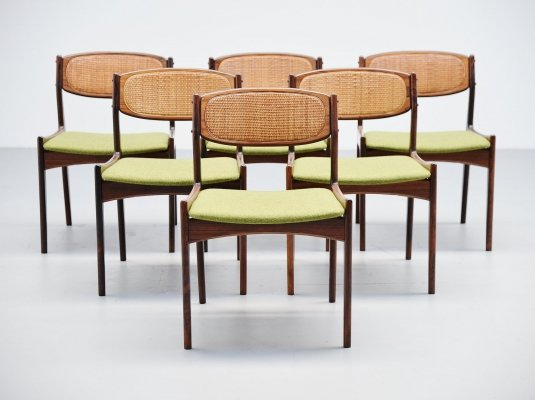 Set of 6 Ib Kofod Larsen chairs by Christian Linneberg Denmark, 1960