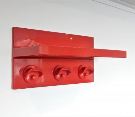 Red plastic coat rack with hat shelf by Olaf von Bohr for Kartell, Italy 1970's