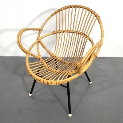 Small Rattan Armchair with black Tubular Steel Frame by Rohe Noordwolde, 1960s