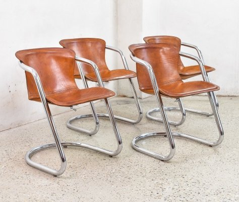 Set of 4 Cognac Leather Chairs by Willy Rizzo for Cidue, 1970s