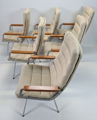 Set of 6 Armchairs with high backrests by Geoffrey Harcourt for Artifort, 1960s