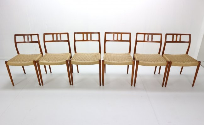 Set of 6 Model 79 Papercord Chairs by Niels Otto Møller for J.L. Møllers, Denmark 1960s