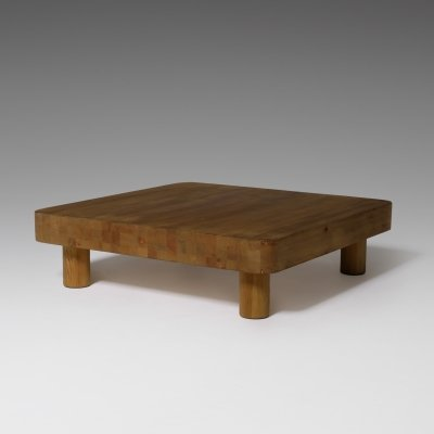 Large square coffee table in Sold Pine, 1960s