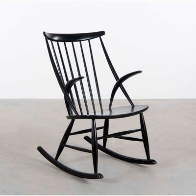 Black Nr. 3 rocking chair by Illum Wikkelso for Niels Eilersen, 1950s