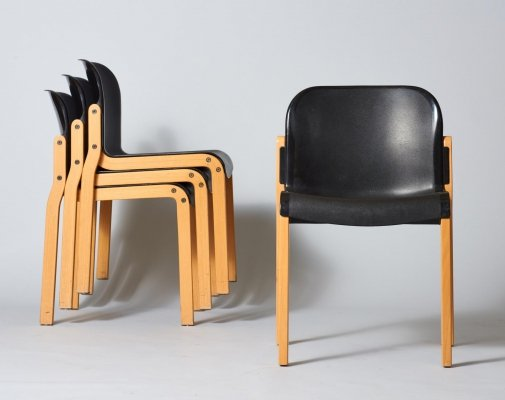 Set of 4 Dolmas dining chairs by JB Meijer for Kembo, 1980s