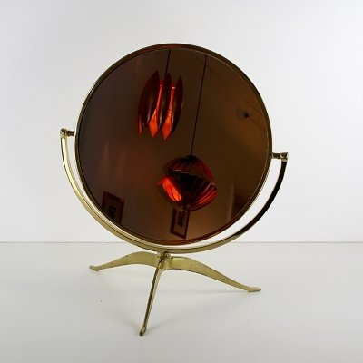 Large brass table mirror, 1950s