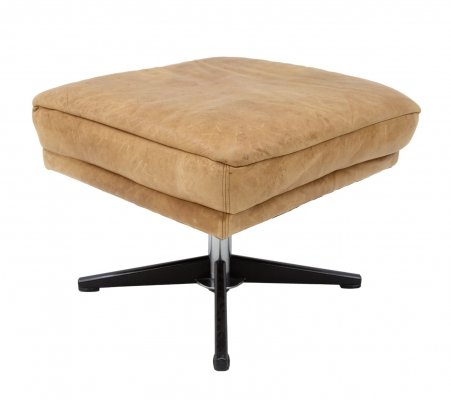Rotatable Cognac leather ottoman