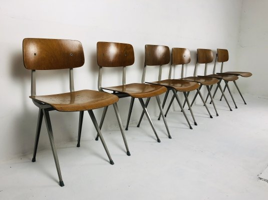 Early set of 6 'Result' Chairs by Friso Kramer for Ahrend de Cirkel, 1950s