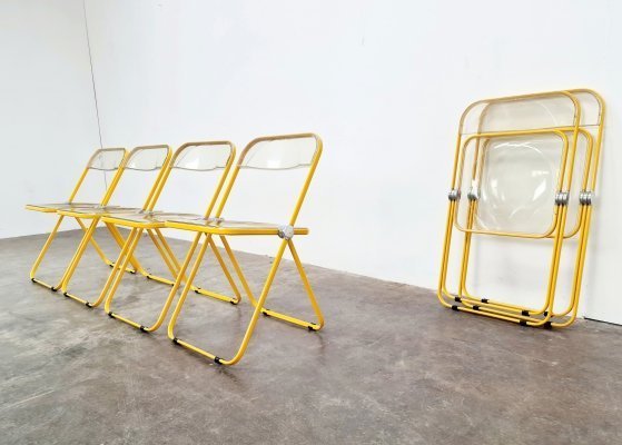Set of 6 limited edition Plia chairs by Giancarlo Piretti for Castelli, 1970s