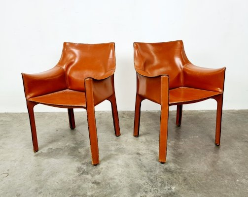 Set of 2 Russian red CAB chairs by Mario Bellini for Cassina, 1980s