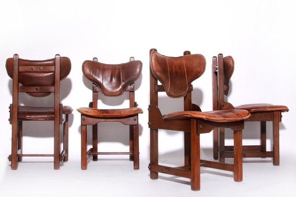 Set of 4 Vintage Brutalist Oak & Leather Dining Chairs, 70s