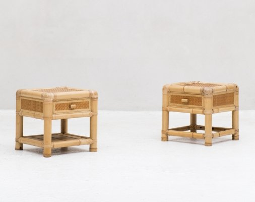 Set bamboo side tables or bedside tables, 1960s