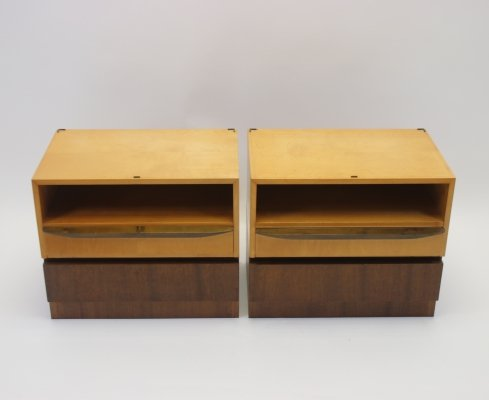Set of vintage bedside tables with drawers, 1960s