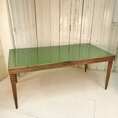 Large Green Art Deco Wooden/Glass Table, 1950s