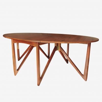 Danish Teak 'Gateleg' Drop Leaf Dining Table by Niels Kofoed, 1960s