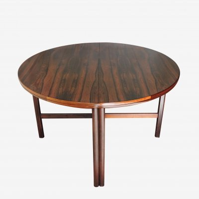 Round Extendable Rosewood Dining Table, 1960s