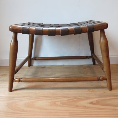 1950s Leather strap & Wooden stool