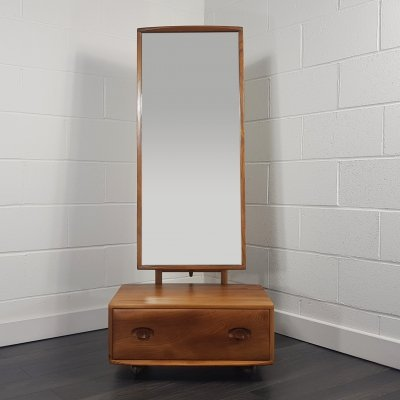 Ercol Cheval Mirror with Drawer, 1960s